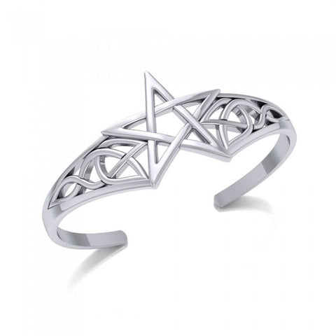 The Centuries Old Power of the Silver Pentagram Cuff Bracelet TBG759