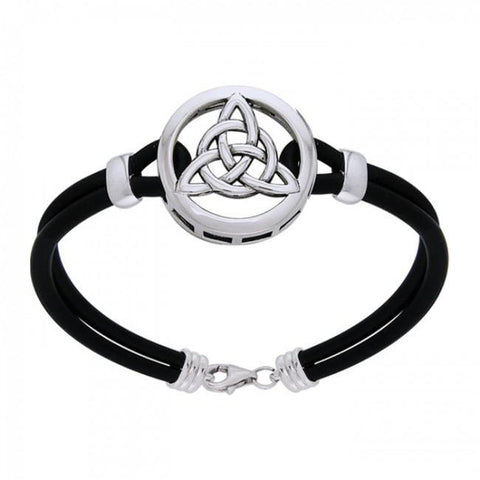 Silver Celtic Trinity Knot Leather Cord Bracelet TBL191
