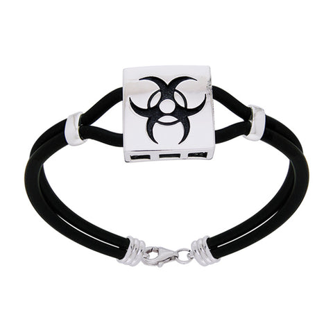 Silver Triple Moon Leather Cord  Bracelet TBL194