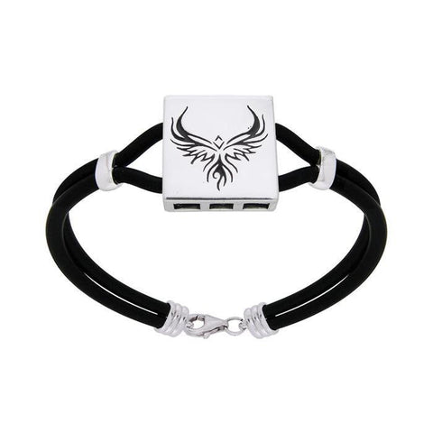 Silver Fiery Phoenix Leather Cord Bracelet TBL195