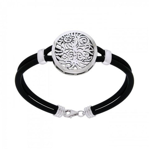 Sterling Silver Tree of Life Leather Cord Bracelet TBL197