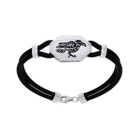 Sterling Silver Raven Leather Cord Bracelet TBL203