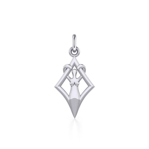 Goddess in Diamond Frame Silver Charm TCM651