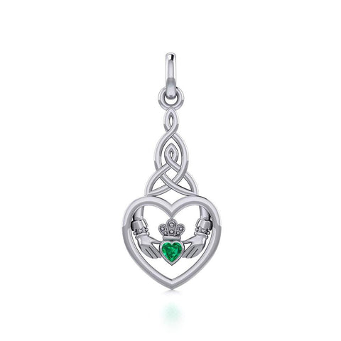 Heart Claddagh with Celtic Trinity Knot Silver Charm with Gemstone TCM667