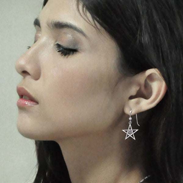 Silver Pentagram Pentacle Earrings TE1177