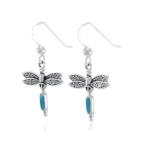 Silver Dragonfly and Gem Earrings TE2810TQ