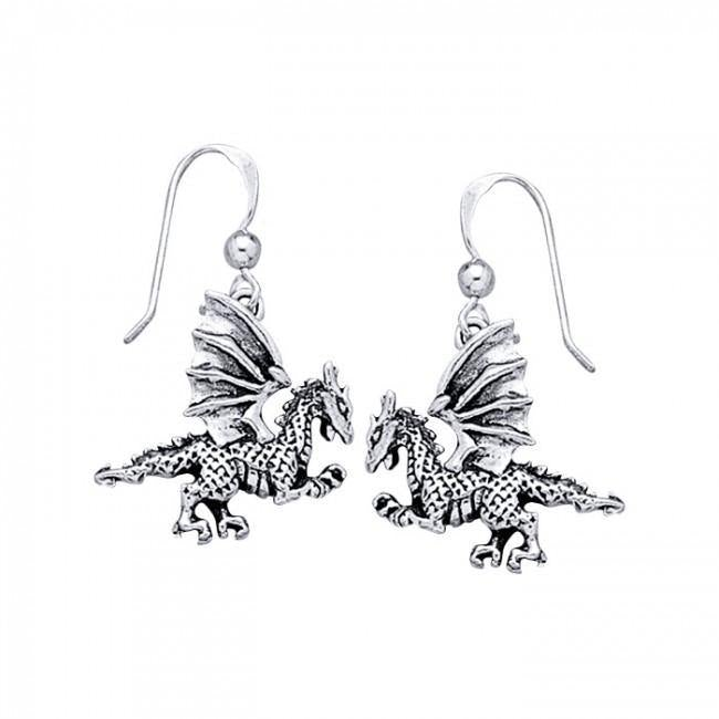 Silver Clawing Dragon Earrings TE993