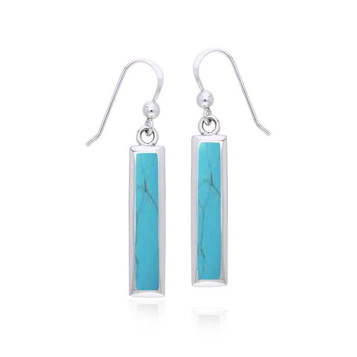 Rectangle Gemstone Inlay Earrings TER038TQ