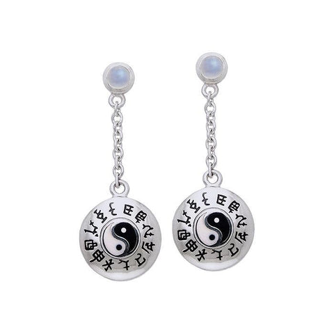 Chinese Astrology Yin Yang Silver Earrings TER074