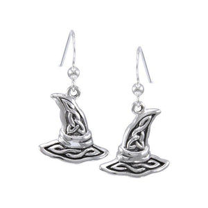 Witch's Hat with Triquetra Silver Earring TER1474