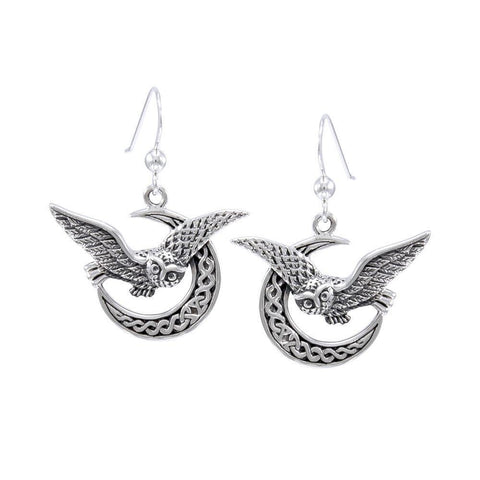 Celtic Owl on Crescent Moon Silver Earrings TER1489