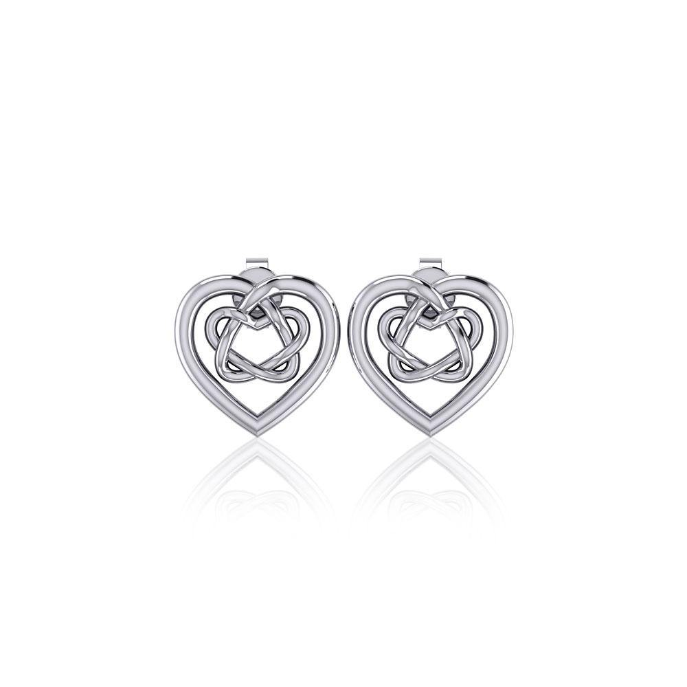 Small Celtic Heart Silver Post Earrings TER1748