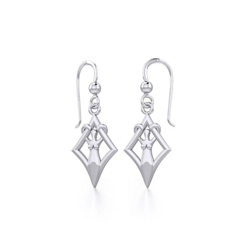 Goddess in Diamond Frame Silver Earrings TER1787