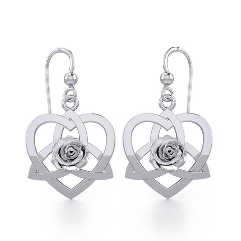 Trinity in Heart with Rose Silver Earrings TER1850