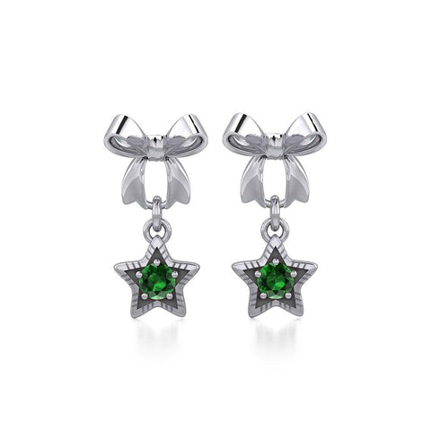 Ribbon with Dangling Gemstone Star Silver Post Earrings TER1854