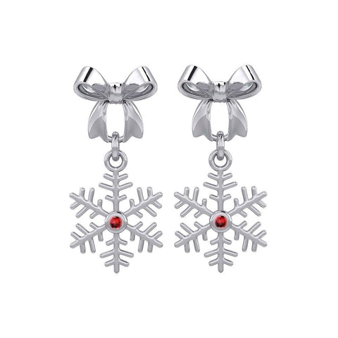 Ribbon with Dangling Gemstone Snowflake Silver Post Earrings TER1855