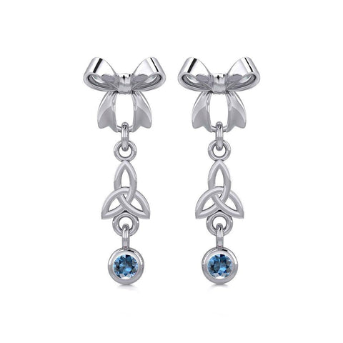 Ribbon with Dangling Gemstone Trinity Knot Silver Post Earrings TER1856