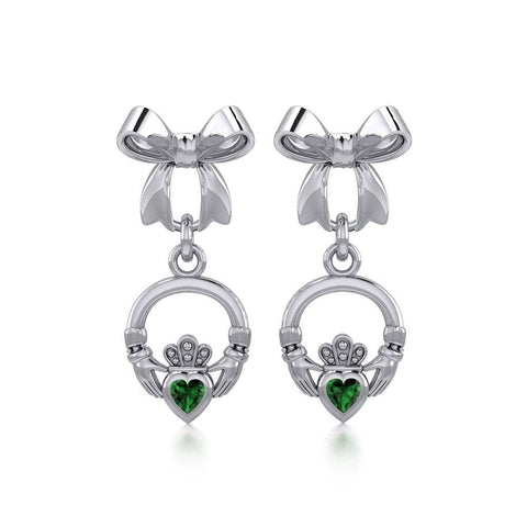 Ribbon with Dangling Gemstone Claddagh Silver Post Earrings TER1861