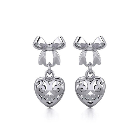 Ribbon with Dangling Filigree Heart Silver Post Earrings TER1863