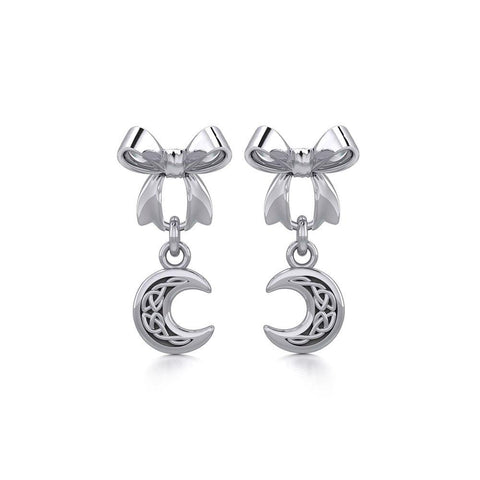 Ribbon with Dangling Celtic Crescent Moon Silver Post Earrings TER1865