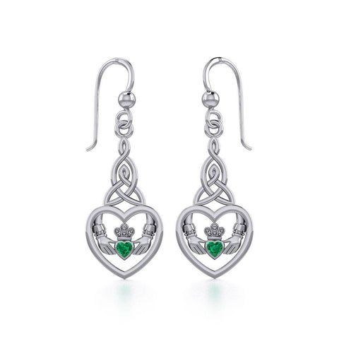Heart Claddagh with Celtic Trinity Knot Silver Earrings with Gemstone TER1882