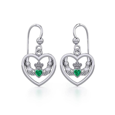 Claddagh in Heart Silver Earrings with Gemstone TER1883