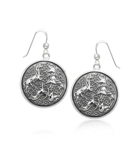 Celtic Triple Horses Silver Earrings TER1899