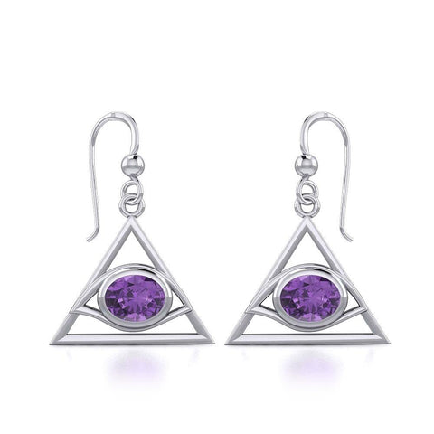 Eye of The Pyramid Silver Earrings with Gem TER1902