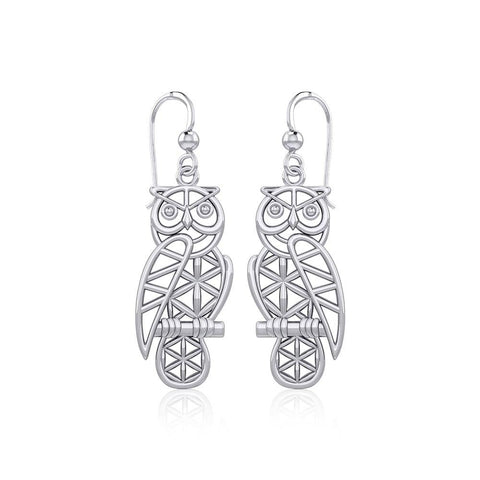 Silver Flower of Life Owl Earrings TER1905