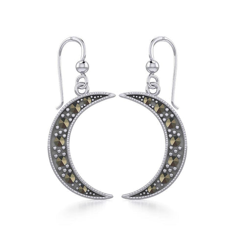 Crescent Moon Sterling Silver Earrings with Marcasite TER1906