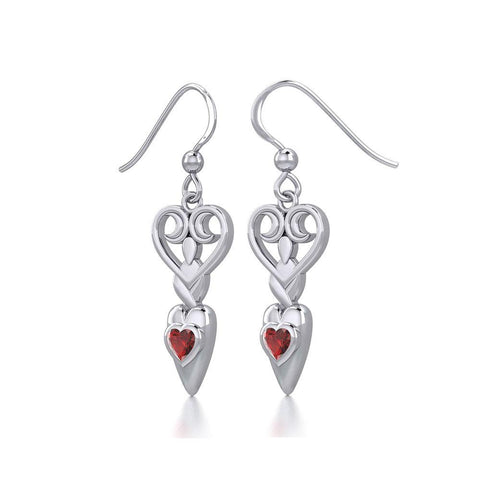 Goddess with Heart Gemstone Silver Earrings TER1918