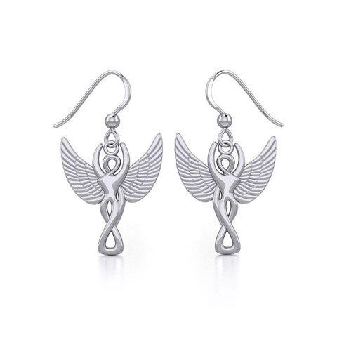 Winged Goddess Angel Silver Earrings TER1922