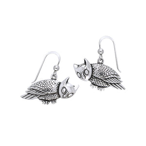 Crouching Owl Silver Earrings TER370