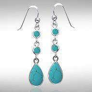 Teardrop Cabochon Silver Earrings TER434TQ