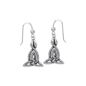 Celtic Knotwork Snakes Silver Earrings TER510
