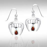 Vampire Teeth with Blood Drops Silver and Gem Earrings