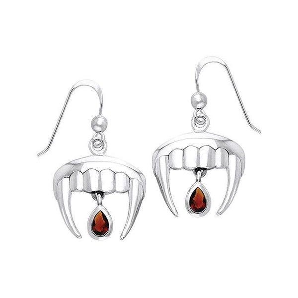 Vampire Teeth with Blood Drops Silver and Gem Earrings TER914