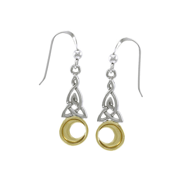 Celtic Knot Moon Gold Accent Silver Earrings TEV2565