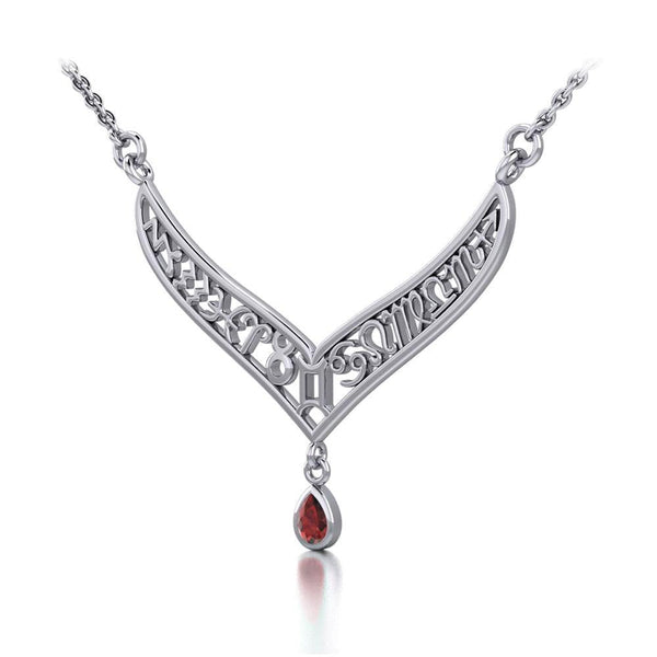 12 Zodiac Symbols Silver Necklace with Teardrop Birthstone of your choice TNC461