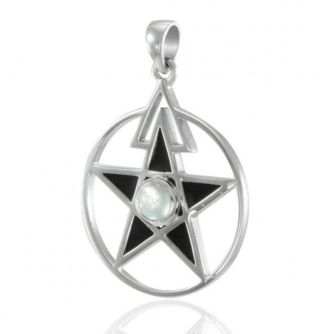 Inlaid Pentacle Silver Pendant with Gemstone TP3115