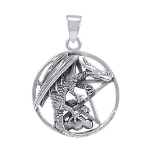 Dragon Clutching Pentacle Silver Pendant TP976