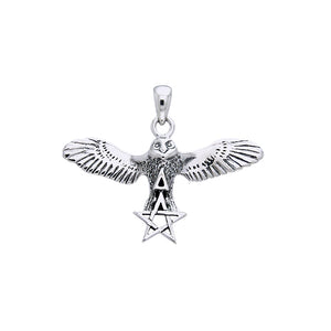 Flying Owl with Pentacle and Triangle Silver Pendant TPD1010