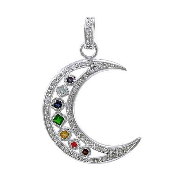 Chakra Moon Sterling Silver with Gemstones Pendant