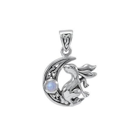 Hare Cescent Moon Silver Pendant TPD4291
