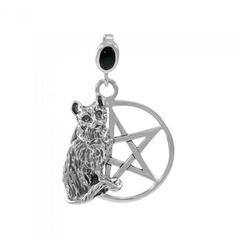 Cat Familiar Protection Pentacle Sterling Silver Pendant TPD4733