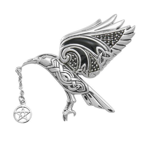 Crow Macha Goddess Sterling Silver Pendant TPD4739