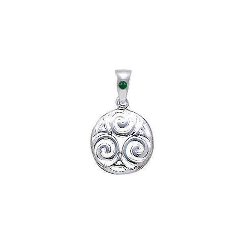 Triskele Sterling Silver Pendant with Stone TPD4750