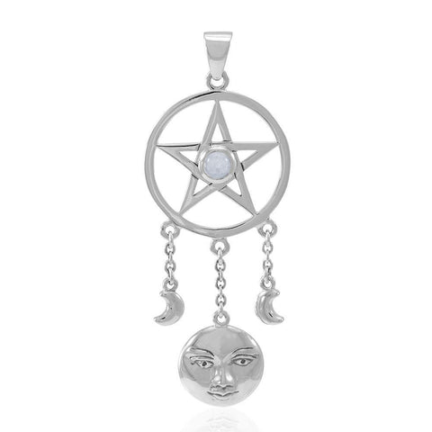 Moon Goddess with Pentacle Silver Pendant with Gemstone TPD4765