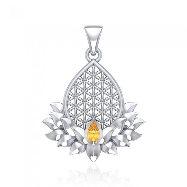 Flower of Life and Lotus with Gemstone Silver Pendant