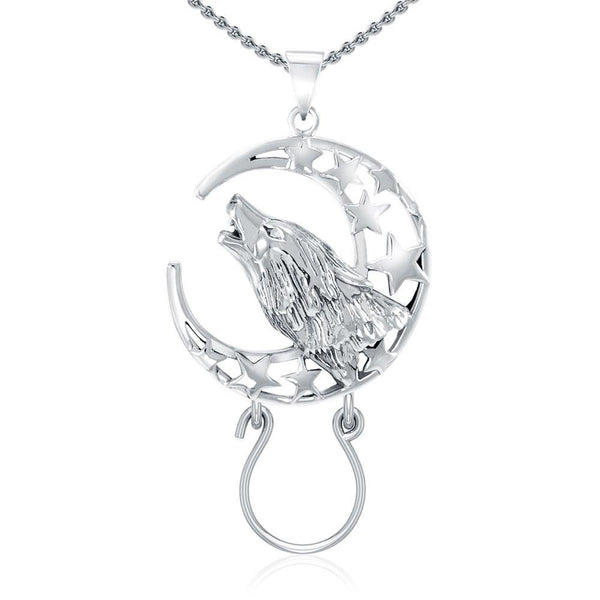 Baying Wolf and Moon Silver Charm Holder Pendant TPD5083
